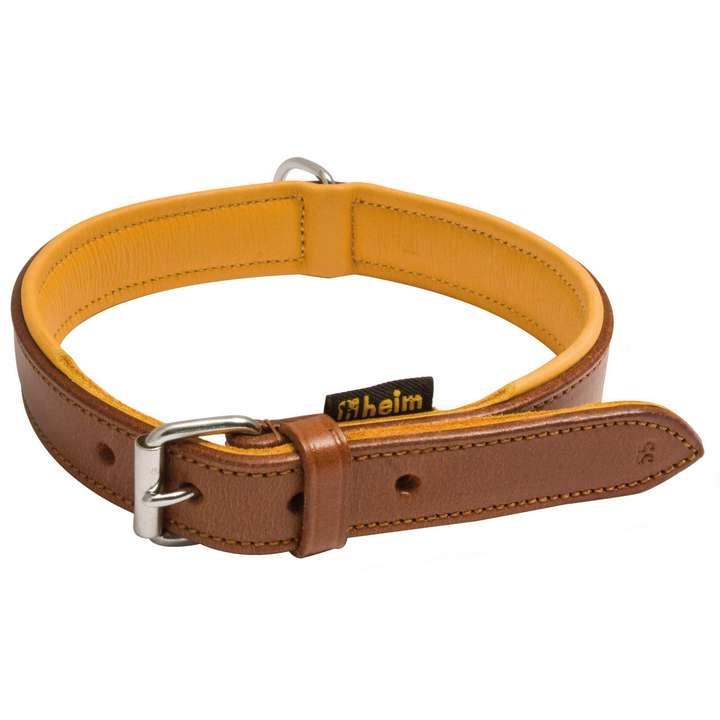 Collier pour chien cuir marron doublé cuir
