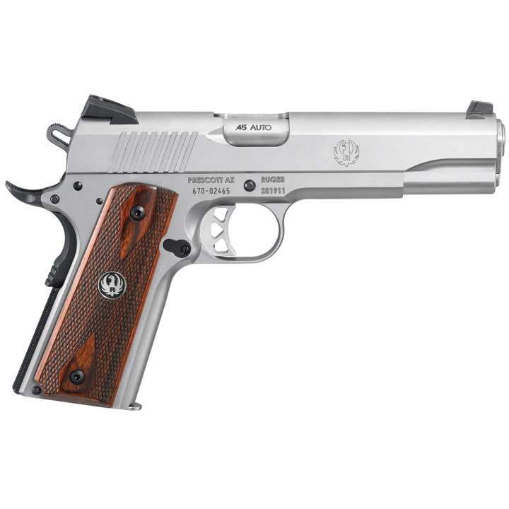 "PIST RUGER SR1911 .45AUTO GOVERNMENT 5"" 8+1CPS STAINLESS STEEL BARREL"
